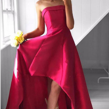 F185 Red Strapless Formal Gown ,Par..