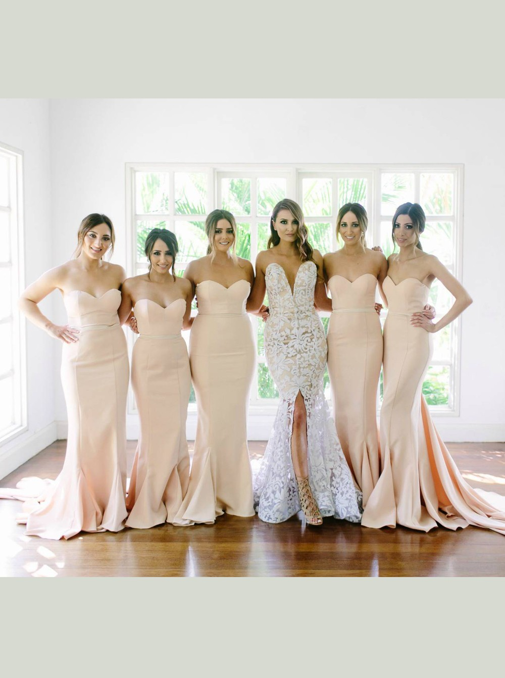 F94 Sexy Strapless Mermaid Long Light Peach Bridesmaid Dress