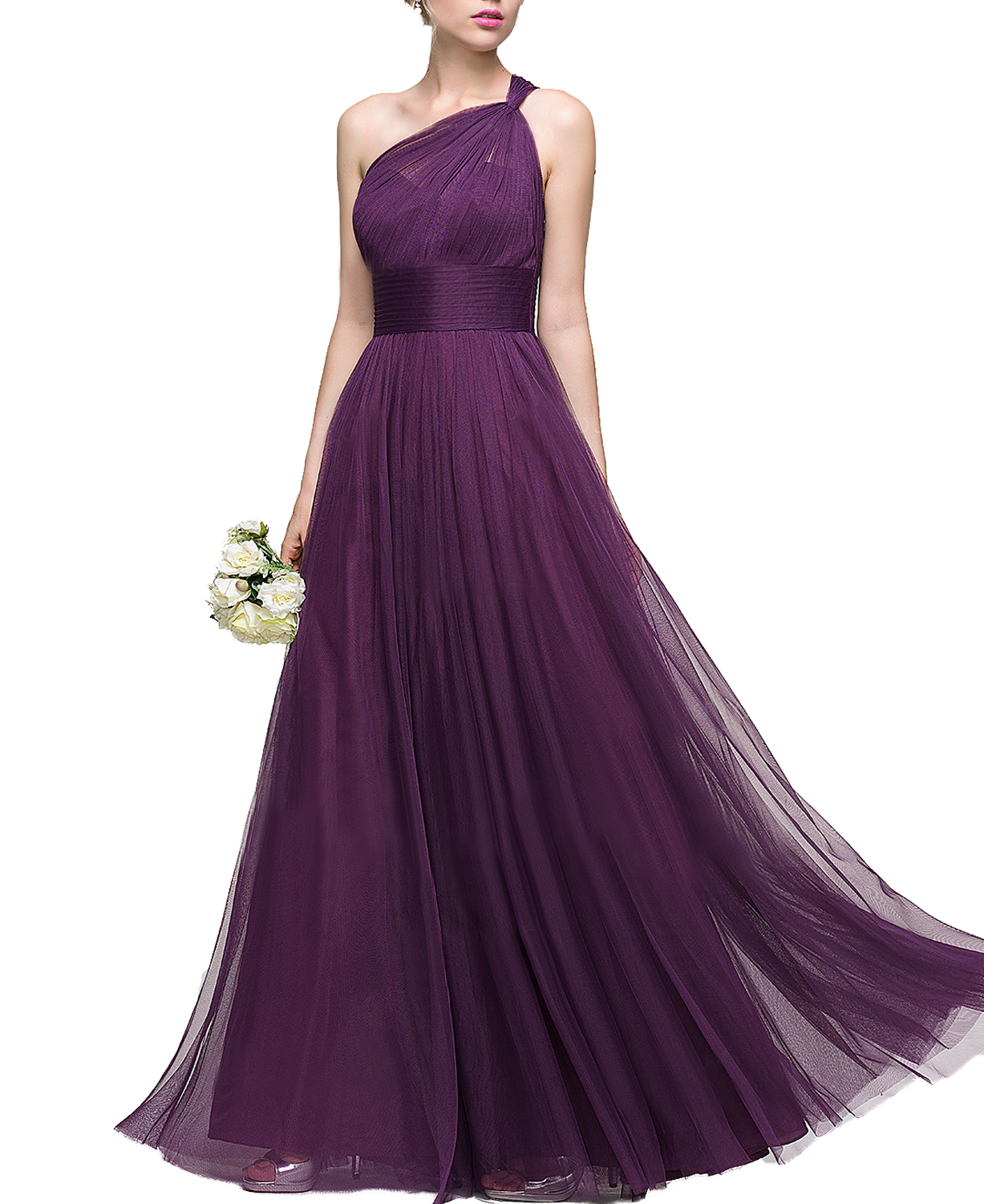A-Line Princess One-Shoulder Floor-Length Tulle Bridesmaid Dress With Ruffle,Long Purple Tulle One Shoulder Wedding Party Dress Prom Dress,One Shoulder Long Tulle Purple Evening Dress