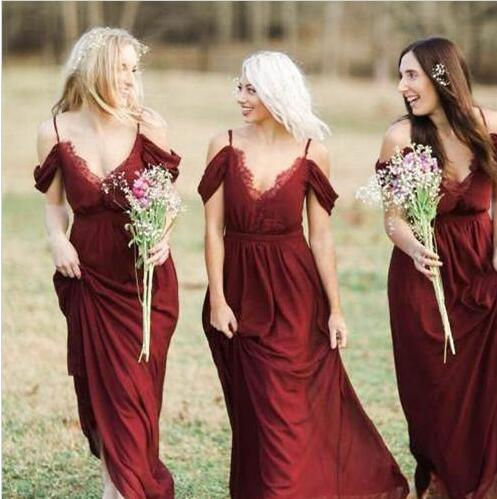 F286 Country Dark Red Chiffon Bridesmaid Dresses Long Cheap Spaghetti Off Shoulder Floor Length Maid Of Honor Dress