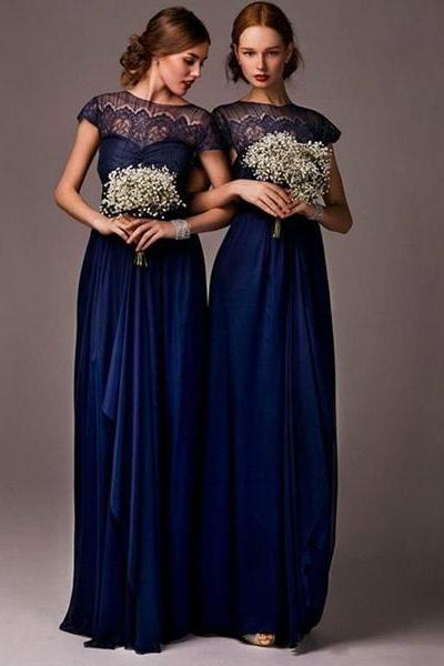 F16 Lace Top Long Chiffon Prom Dresses, Scoop Royal Blue Cheap Chiffon Bridesmaid Dresses, Cap Sleeve Long Lace Prom Dress