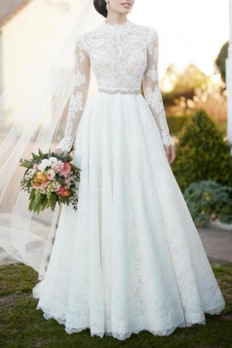 XW47 A Line White Full Lace Long Sleeve Wedding Dress,Formal Elegant Romantic Wedding Gown,A Line Elegant Lace Wedding Dress with Long Sleeves,Beading Sash Lace Long Sleeve Bridal Dress