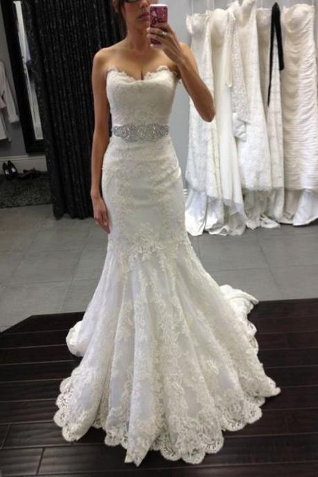 Custom Made White Strapless Sweetheart Neck Lace Mermaid Wedding Dress with Beaded Sash