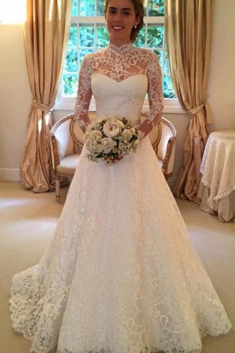 XW63 High Neckline Wedding Dresses,Long Sleeves Wedding Dress,Elegant Wedding Gowns,Wedding Dresses,A-line Wedding Dresses,Elegant Bridal Dresses,Affordable Bridal Gowns