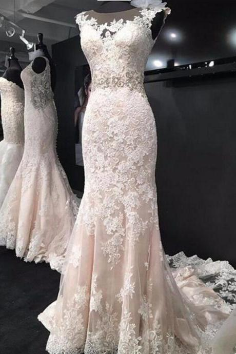 Sheer Lace Appliqués Mermaid Wedding Dress with Cap Sleeves and Court Train