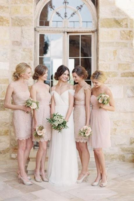 F64 Pink lace bridesmaid dresses, Short bridesmaid dresses, Cute bridesmaid dresses, cute bridesmaid dresses, Custom bridesmaid dresses