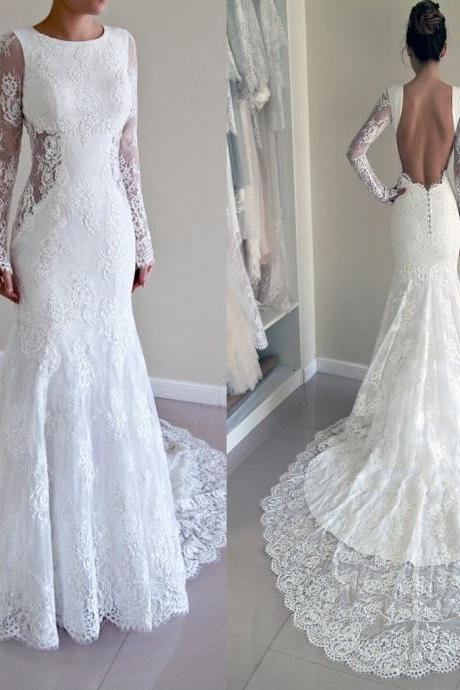 XW71 Gorgeous Round Neck Long Sleeve Sexy Mermaid Backless Lace Wedding Party Dresses,Backless Lace Mermaid Wedding Dress,Long Sleeve Lace Wedding Dress,Wedding Dress with Long Sleeves,
