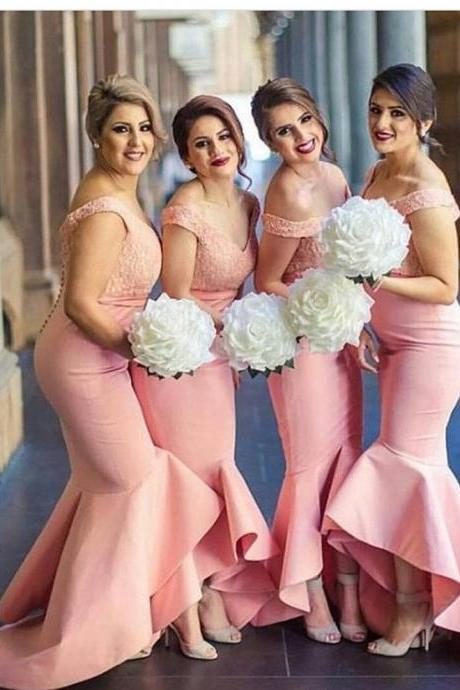 F82 Pink Bridesmaid Dress, Mermaid Long Prom Dress, 2018 Prom Dress