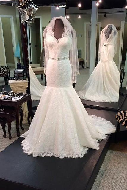 XW81 Mermaid Lace Bridal Gown, Open Back Wedding Gowns, Floor Length women Wedding Dresses 2018,Deep V Neck Lace Mermaid Wedding Dress