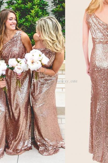 F106 Rose Gold Sequins Bridesmaid Dress, Long Bridesmaid Dress, One Shoulder Bridesmaid Dress