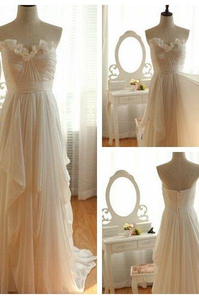 F119 Custom Made Charming Sweetheart Long Chiffon Wedding Dresses, Summer Wedding Dress