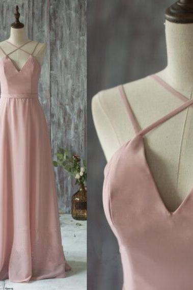 F121 Simple V-neck Prom Dresses,Chiffon Prom Dresses in Dusty Pink
