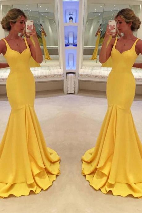 F122 Prom Dress,Sexy Prom Dress, Yellow Prom Dresses,Vintage Yellow Mermaid Evening,Prom Dress