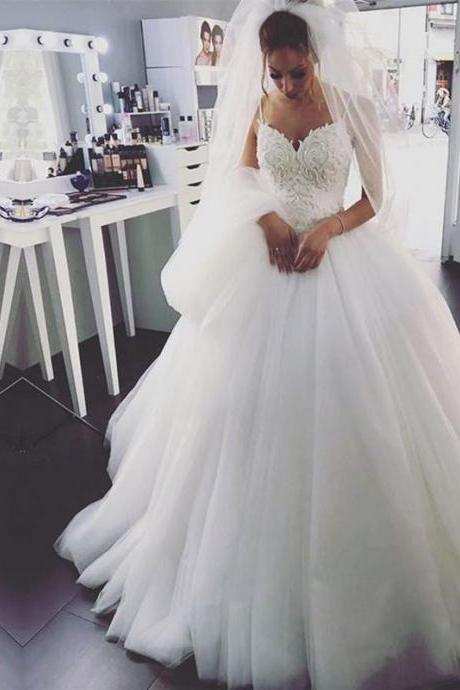 Spaghetti Strap Lace Beaded Tulle Ball Gown Wedding Dress Featuring Lace-Up Back and Long Train