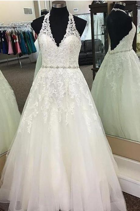 XW112 Halter Wedding Dresses ,Lace Wedding Dress,Princess Bride Dress,Sexy Wedding Gowns 2018,Halter Neck A Line Lace Wedding Dress,Sexy A Line Wedding Dress