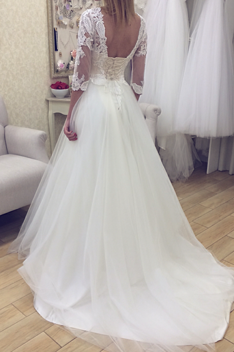 Sheer Floral Lace Appliqués A-line Wedding Dress Featuring Sleeves and Long Train