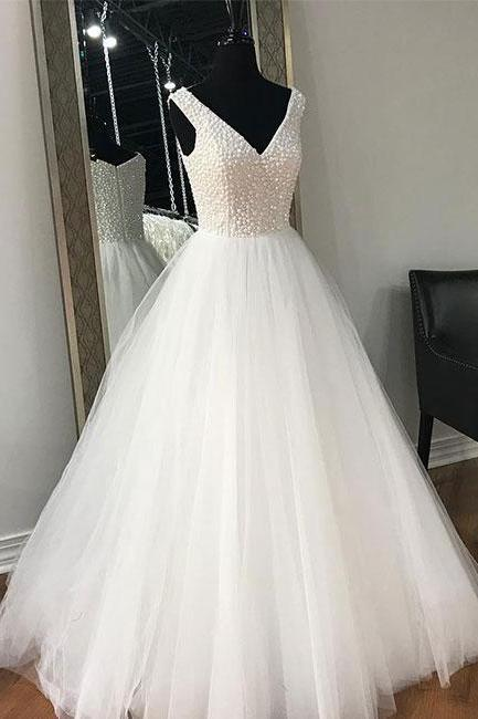 XW113 White V-Neck A-Line Prom Dress,Beaded Tulle Evening Dress,Elegant Wedding Dress