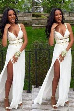 F147 Spaghetti Straps Prom Gowns, V Neck Side Slit Evening Gowns,Charming Lady Dresses
