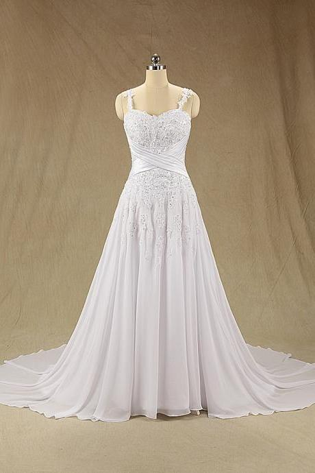 XW150 A Line Long Lace Wedding Dress,Lace Wedding Dress,Spaghetti Straps Lace Bridal Dress,Lace Bridal Dress