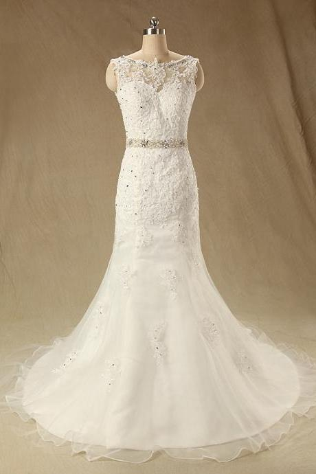 XW153 Wedding Dress,Lace Mermaid Wedding Dress,Sexy Wedding Dress with Beading Sash,Long Lace Mermaid Bridal Dress,Lace Wedding Dress