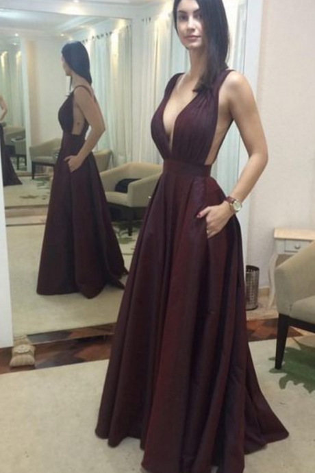 P27 Sexy Prom Dress, Burgundy Prom Dresses, Deep V-neck Evening Dress,Sexy Deep V Neck Long Satin prom Dress,A Line Long Satin Evening Dress,Sexy Deep V Neck Long Satin Evening Dress