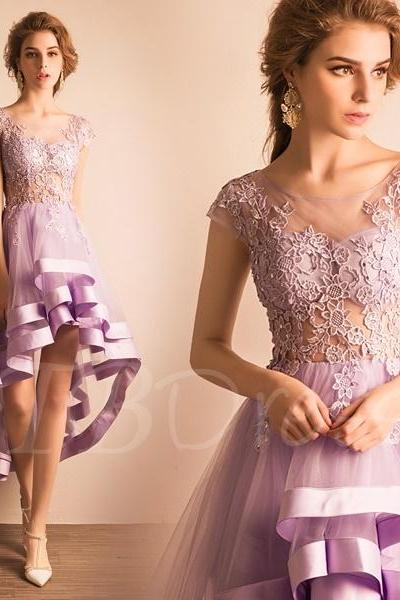 F173 Asymmetry A-Line Scoop Lace Homecoming Dress,High-Low Bridesmaid Dress