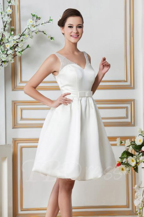 F195 Mini-length V-neck Pockets & Beaded Sandra's Wedding Dress