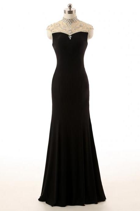 Black High-Neck Sheer Beaded Mermaid Floor-Length Prom Dress, Evening Dress Featuring Sheer Beaded Back