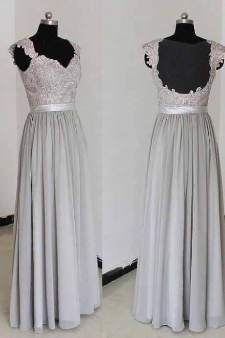 F209 Vinca Sunny Sexy Gray Bridesmaid Dresses Scoop Lace Chiffon Long Maid of Honor Prom Dress Gowns
