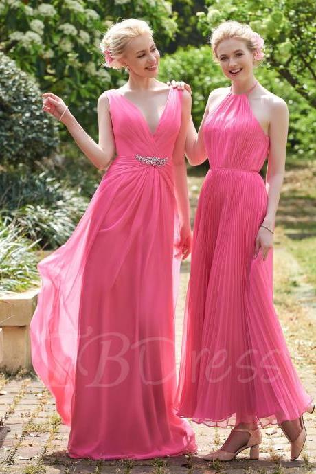 F217 V-Neck Ruched Beading Floor-Length A-Line Bridesmaid Dress