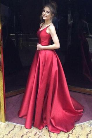P77 O-Neck Prom Dress,Backless Prom Dress,A-Line Prom Dress,Long Prom Dress,Evening Dress, Red Prom Dresses,Simple A Line Long Satin Red Prom Dress,Long Elegant Red Satin Evening Dress
