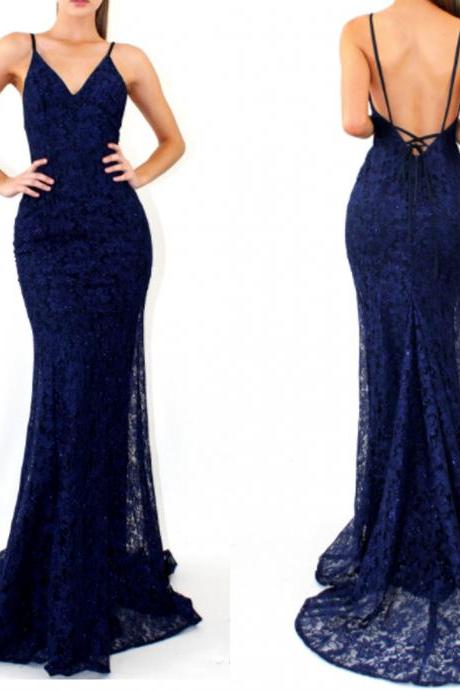 P91 royal blue lace sexy mermaid spaghetti strap lace up back prom dresses,royal blue lace mermaid evening dress,sexy royal blue lace prom dress,sexy spaghetti straps lace mermaid evening dress,mermaid lace prom dress,backless sexy royal blue lace evening dress
