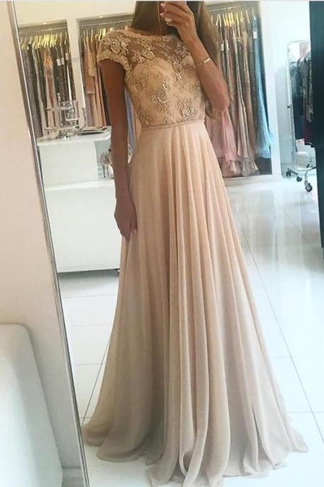 P102 Elegant Lace Embroidery Cap Sleeves Open Back Chiffon Prom Dresses,A Line Long Chiffon Champagne Lace Prom Dress,Long Chiffon Champagne Lace Evening Dress