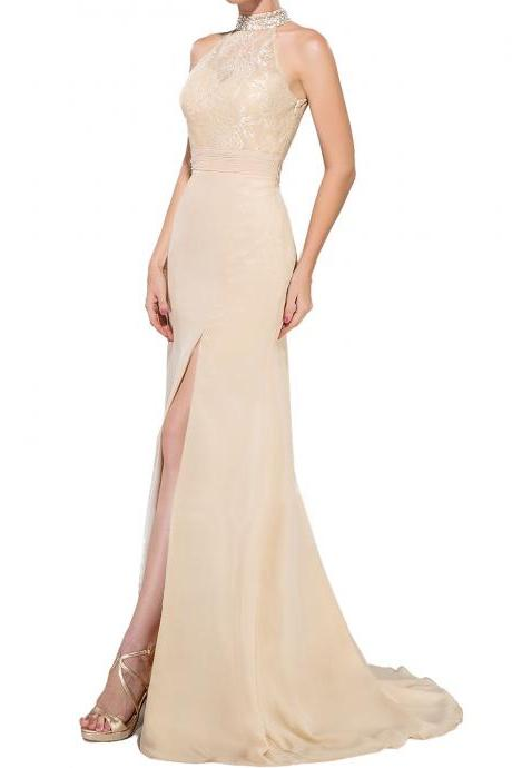 P105 Trumpet Mermaid High Neck Sweep Train Chiffon Lace Evening Dress With Ruffle Beading Sequins Split Front,Halter Neck Lace Mermaid Champagne Evening Dress,Mermaid Lace Sexy Champagne Prom Dress