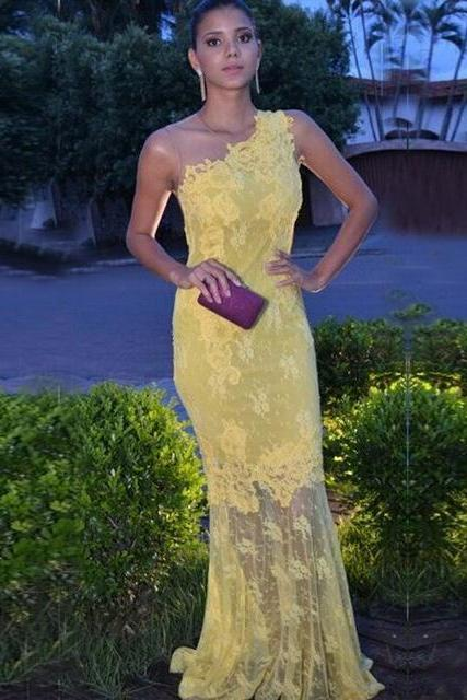 P106 Yellow Evening Dress,Prom Dress,O-Neck Evening Dress,Lace Evening Dress,Sheer Back Evening Dress Long Evening Dress,Formal Evening Dress,Mermaid Evening Dress, Plus Size Evening Dress