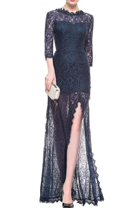 Navy Blue Sheer Lace Sheath Floor-Length Prom Dress, Evening Dress with Mid-Length Sleeves and Side Slit