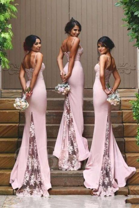 F236 Spaghetti Strap Lace Zipper-Up Mermaid Bridesmaid Dress