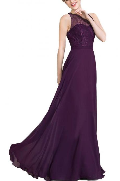 Princess Scoop Neck Floor-Length Chiffon Lace Bridesmaid Dress,Top Lace A Line Long Chiffon Purple Wedding Party Dress,Long Chiffon Purple Lace Prom Dress
