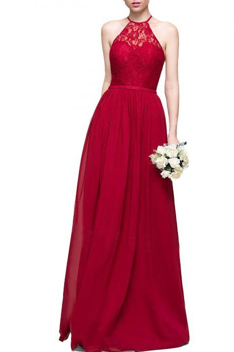 A-Line Princess Scoop Neck Floor-Length Chiffon Red Lace Bridesmaid Dress,Long Chiffon Red Lace Prom Party Dress,Halter Neck Long Tulle Red Prom Dress,