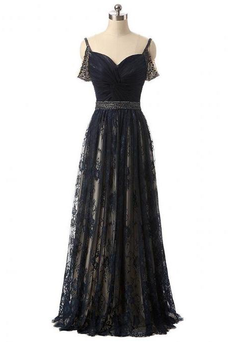 Black Cold-Shoulder Ruched Lace A-line Long Prom Dress, Evening Dress