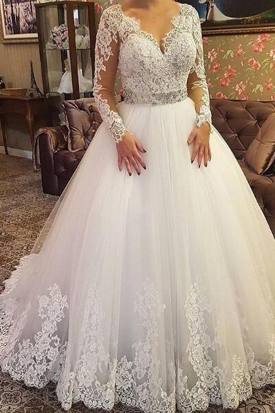 2018 A-line Wedding Dress V-Neck Sheer Long Sleeves Lace Long Wedding Dresses Bridal Dress Wedding Gown,Deep V Neck Long Sleeve Lace Wedding Dress,Wedding Dress with Long Sleeves