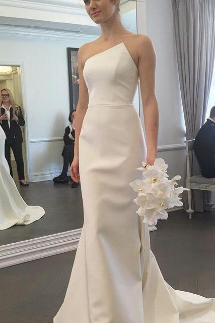 Cheap wedding dresses,Gorgeous Strapless Mermaid Long Wedding Dress Bridal Gown,Sexy Sheath Simple White Wedding Dress