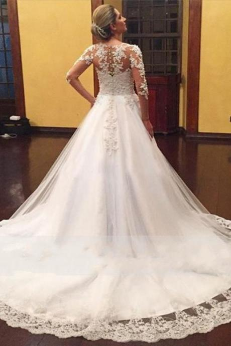 A Line Long Sleeves Lace Wedding Dress,Wedding Dress with Long Sleeves,Long Sleeves Wedding Dress with Long Train,Wedding Dress,Bridal Dress