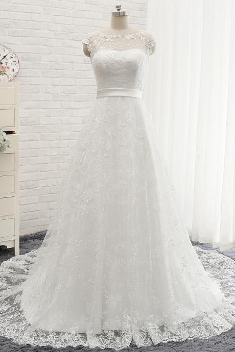 Cap Sleeves Full Lace Wedding Dress,A Line Long Lace Formal Elegant Wedding Dress,Long Wedding Dress with Long Train