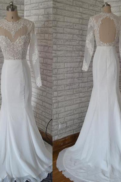 Sheer Lace Appliqués Mermaid Wedding Dress Featuring Long Sleeves and Keyhole Back