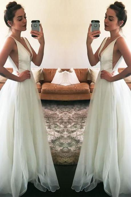 Newest V-neck Straps Sleeveless White A-line Wedding Dress,Simple Beach White Wedding Dress