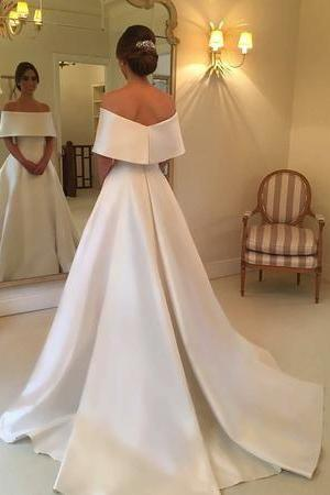 Off the Shoulder Ivory Satin Wedding Dress,Long Satin Sexy Simple Wedding Dress,Formal Elegant Long Satin Wedding Dress