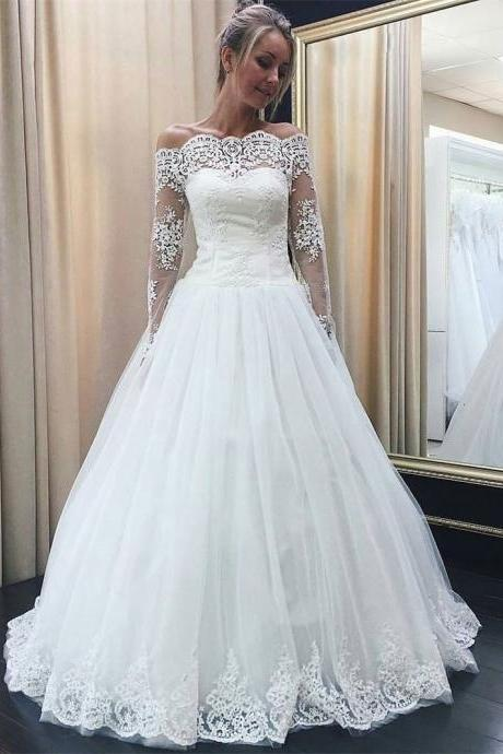 Off the Shoulder Long Sleeves Lace Appliqued Wedding Dresses,Off the Shoulder A Line Long Tulle Lace Bridal Dress,Long Sleeve Lace Wedding Dress