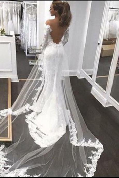 Open Back Mermaid Lace Wedding Dress,Sexy White Lace Backless Wedding Dress,Long Lace Mermaid Bridal Dress,Wedding Dress Sexy