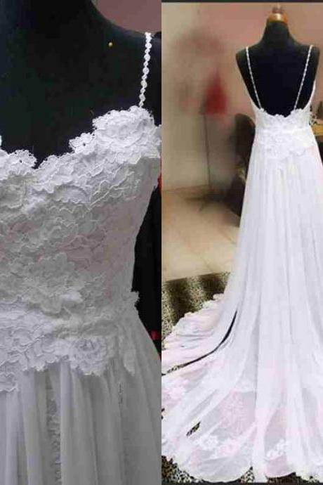 Spaghetti Strap Floral Lace Appliqués Chiffon A-line Beach Wedding dress